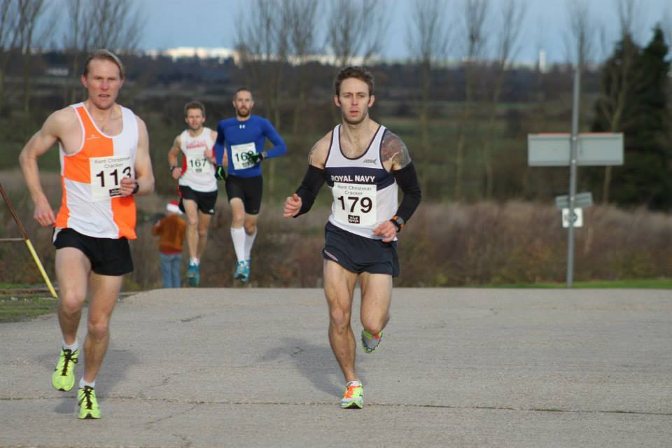 Adam jostling for the lead at the Deal 5 Miler