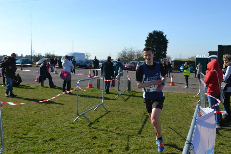 Robbie Higgins finishing strongly in the half marathon