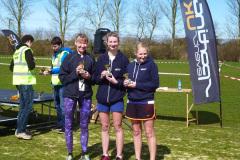 Theresa Johns, Beth Burnett, Fiona Tester winning the ladies team prize at the Canterbury 10k