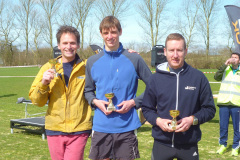 Jacob Hussey, Peter Hogben, Steve Hobbs winning the men's team prize at the Canterbury 10k.