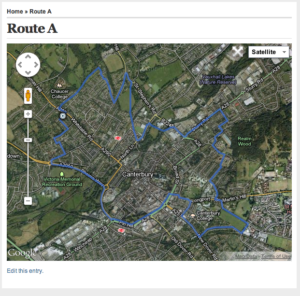 Canterbury Harriers Training Routes
